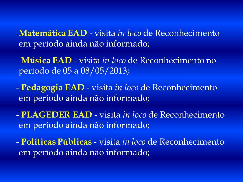Matemática EAD - visita in loco de Reconhecimento em período ainda não informado;