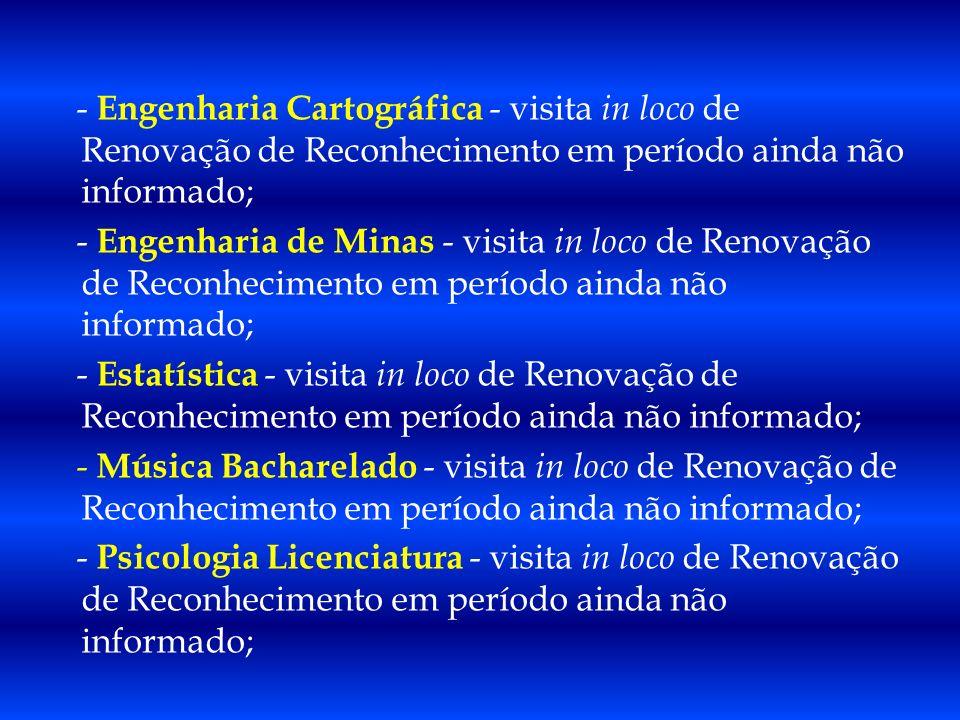 - Engenharia Cartográfica - visita in loco de Renovação de Reconhecimento em período ainda não informado;