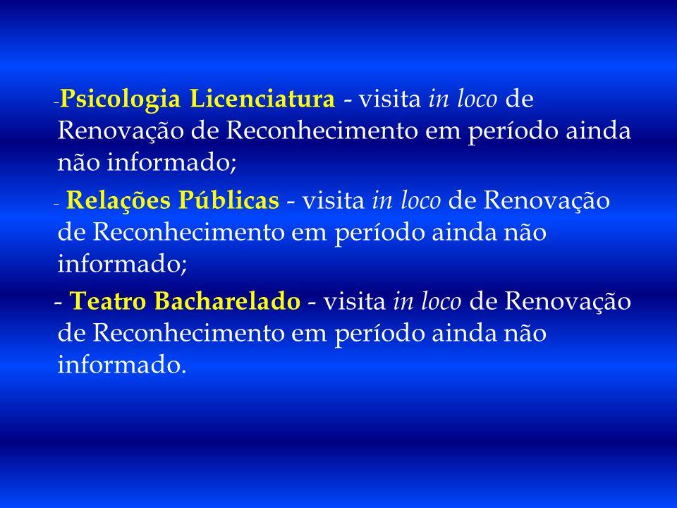 Psicologia Licenciatura - visita in loco de Renovação de Reconhecimento em período ainda não informado;