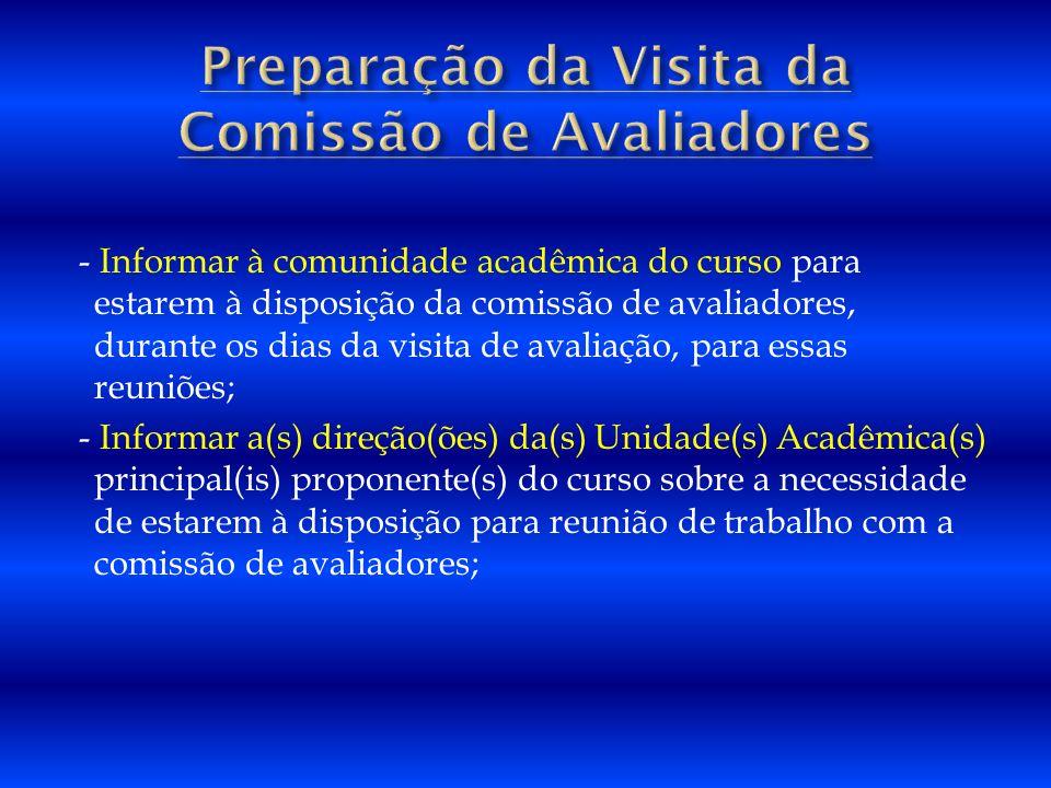 Preparação da Visita da Comissão de Avaliadores