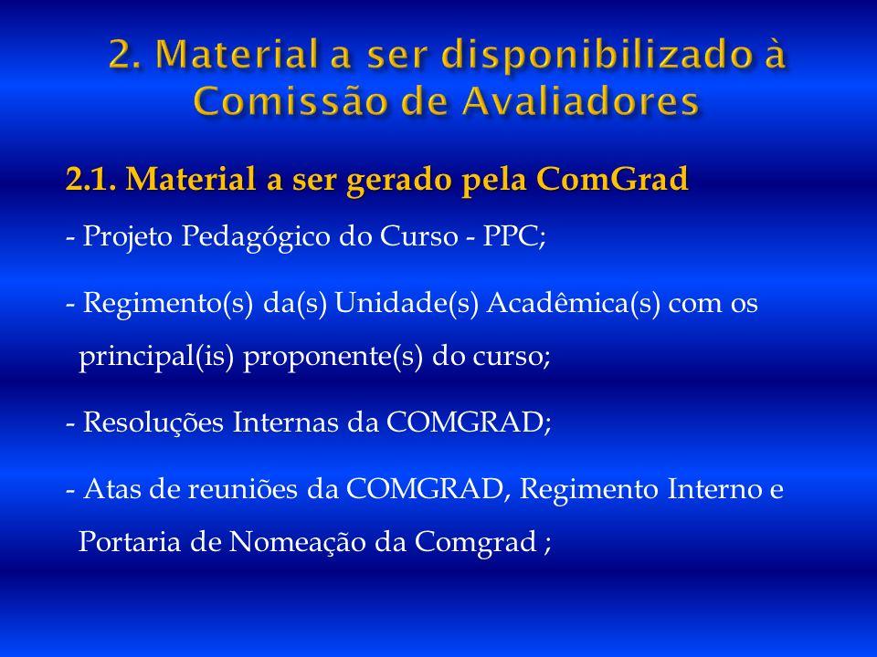 2. Material a ser disponibilizado à Comissão de Avaliadores
