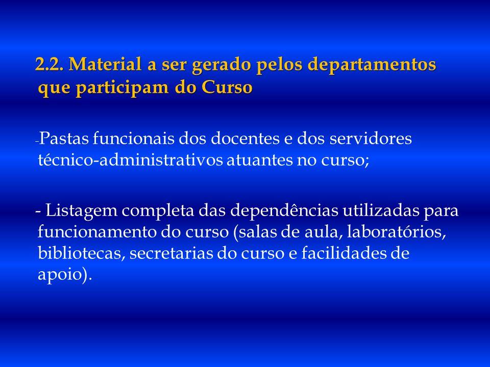 2.2. Material a ser gerado pelos departamentos que participam do Curso