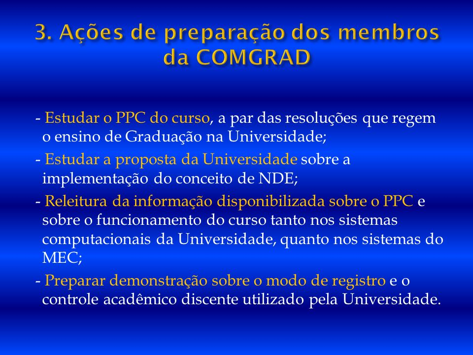 3. Ações de preparação dos membros da COMGRAD