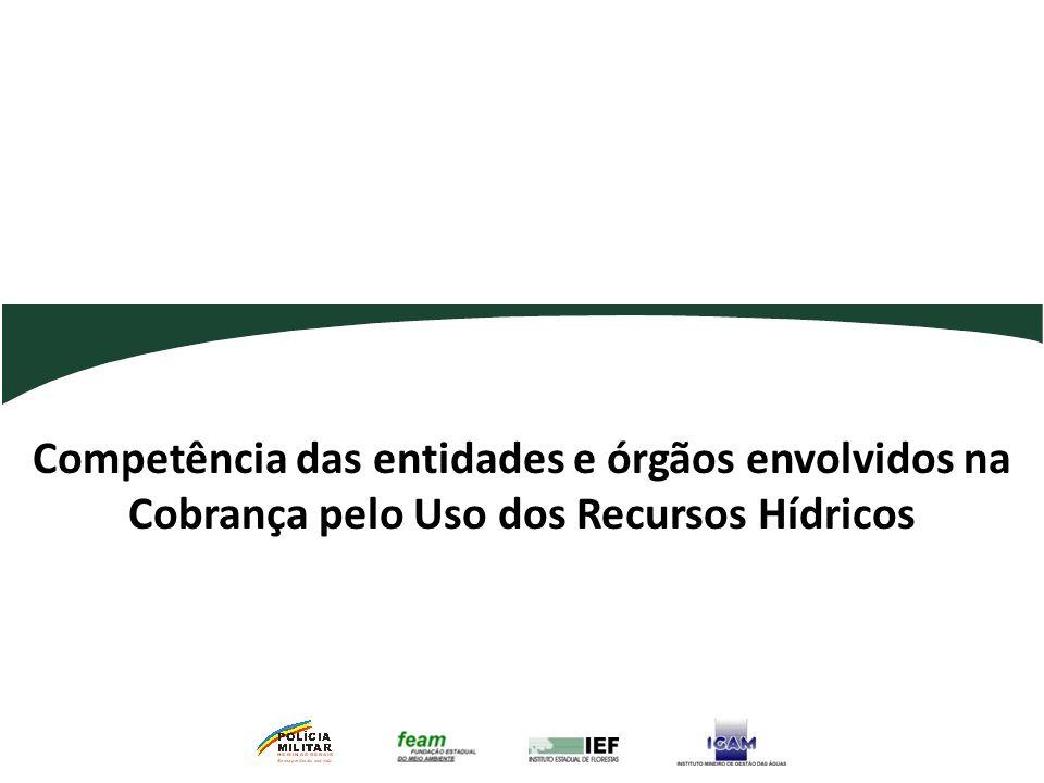 Competência das entidades e órgãos envolvidos na Cobrança pelo Uso dos Recursos Hídricos