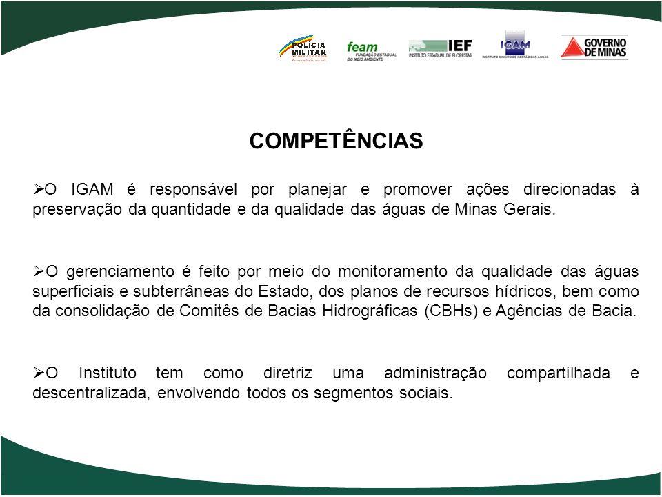 COMPETÊNCIAS O IGAM é responsável por planejar e promover ações direcionadas à preservação da quantidade e da qualidade das águas de Minas Gerais.