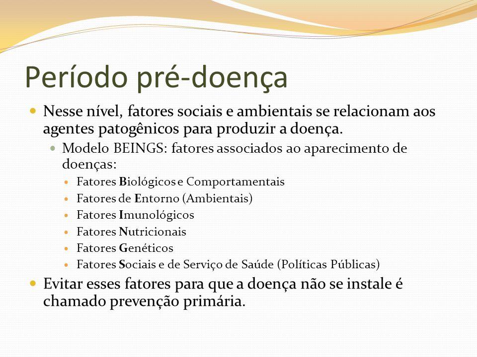 Período pré-doença Nesse nível, fatores sociais e ambientais se relacionam aos agentes patogênicos para produzir a doença.