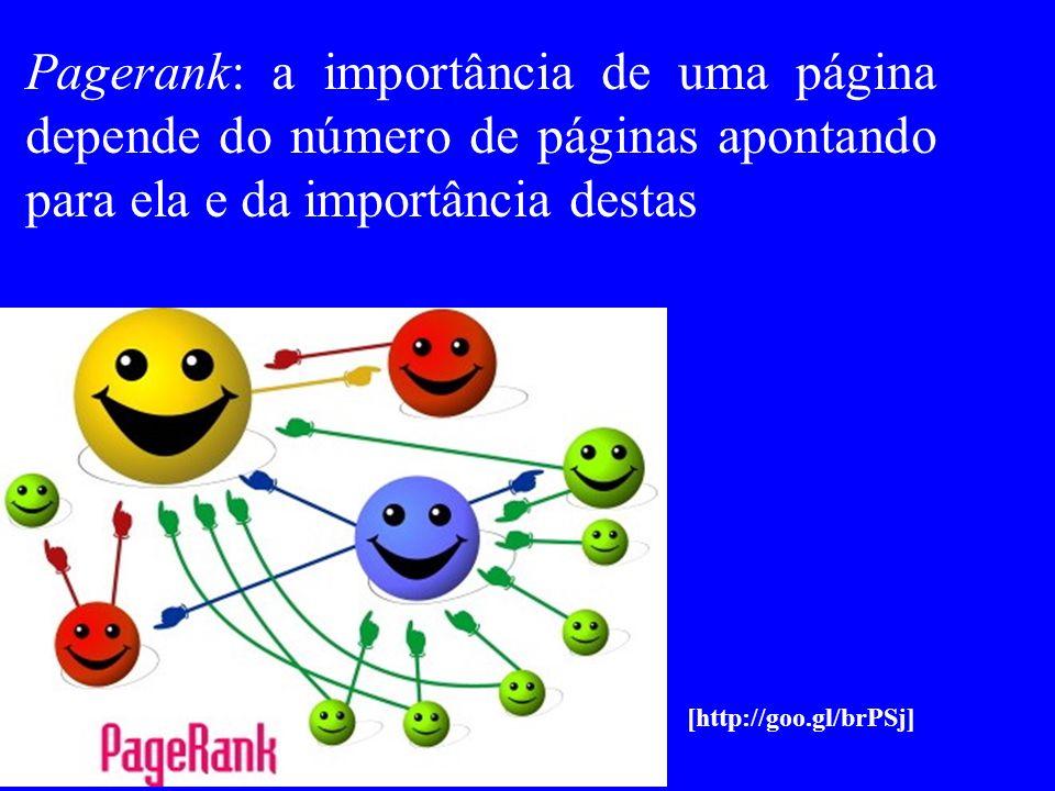 Pagerank: a importância de uma página depende do número de páginas apontando para ela e da importância destas