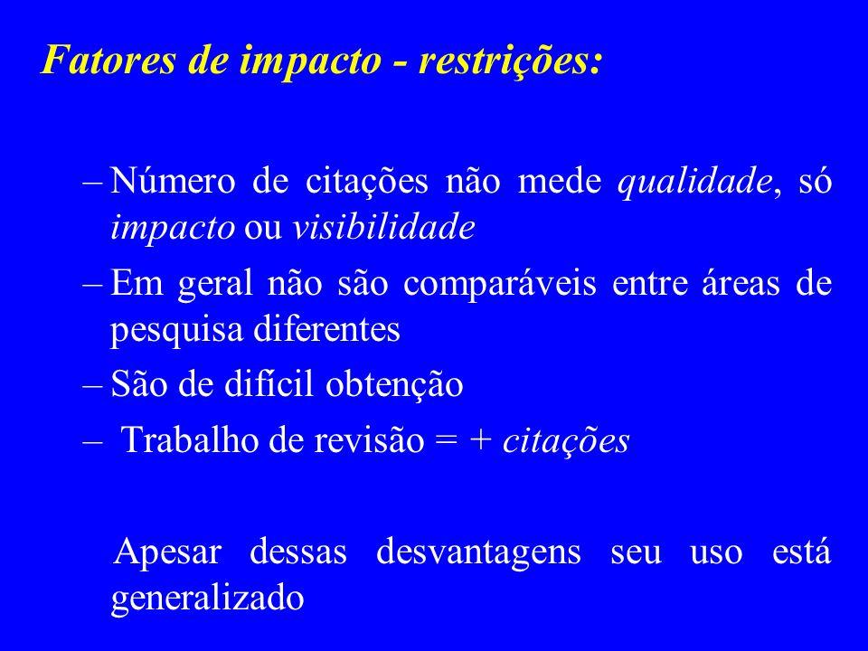 Fatores de impacto - restrições: