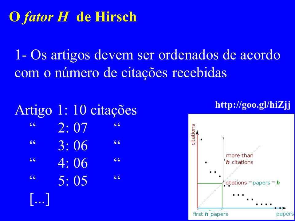 O fator H de Hirsch 1- Os artigos devem ser ordenados de acordo com o número de citações recebidas.