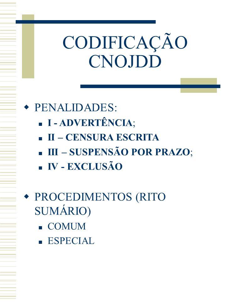 CODIFICAÇÃO CNOJDD PENALIDADES: PROCEDIMENTOS (RITO SUMÁRIO)