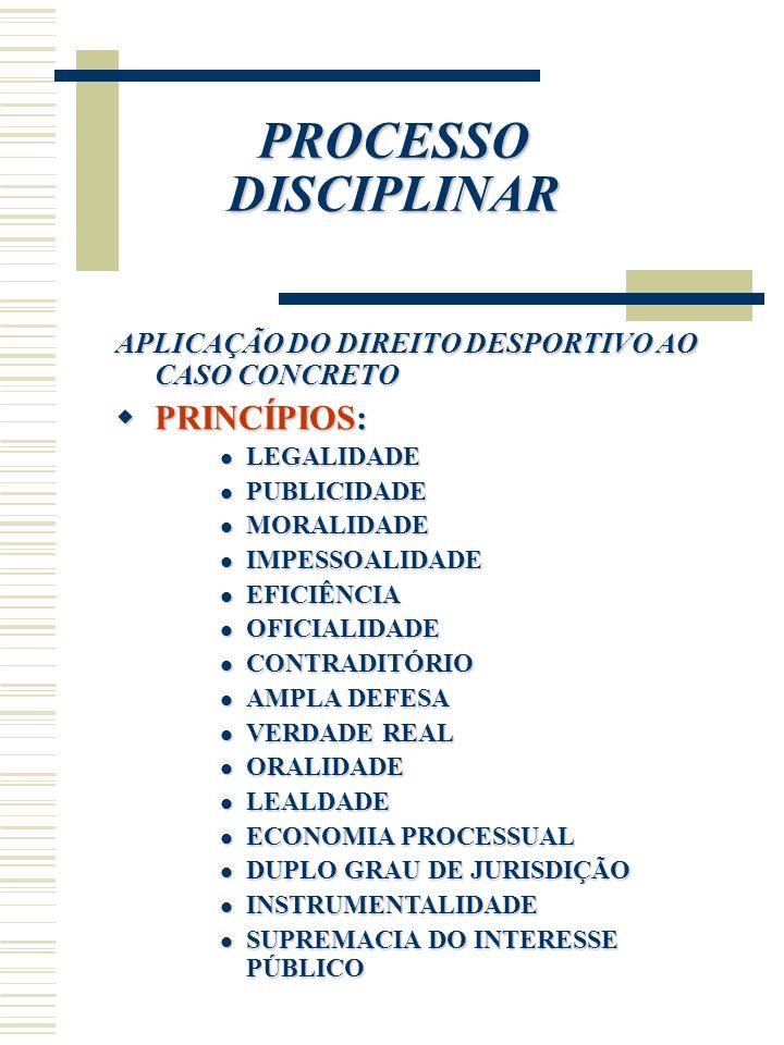 PROCESSO DISCIPLINAR PRINCÍPIOS: