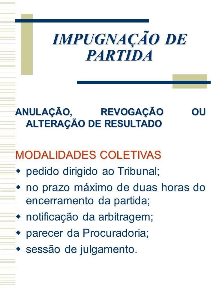 IMPUGNAÇÃO DE PARTIDA MODALIDADES COLETIVAS