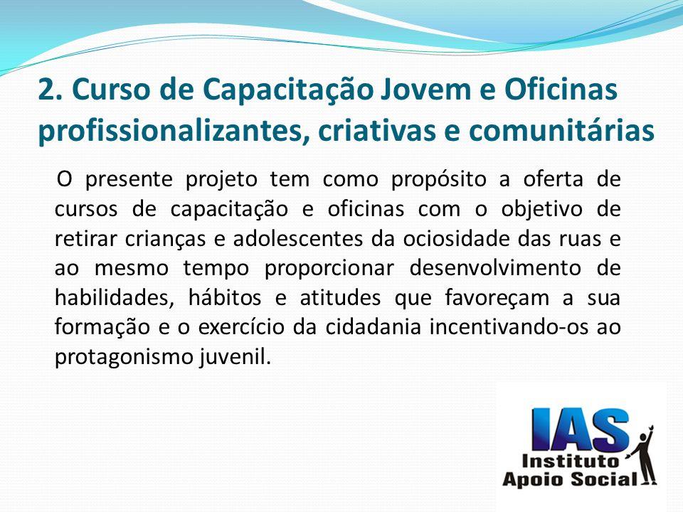 2. Curso de Capacitação Jovem e Oficinas profissionalizantes, criativas e comunitárias