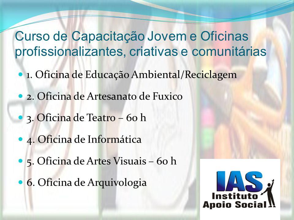 Curso de Capacitação Jovem e Oficinas profissionalizantes, criativas e comunitárias