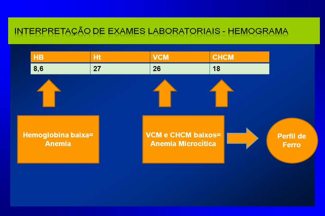 Hemoglobina baixa= Anemia VCM e CHCM baixos= Anemia Microcítica