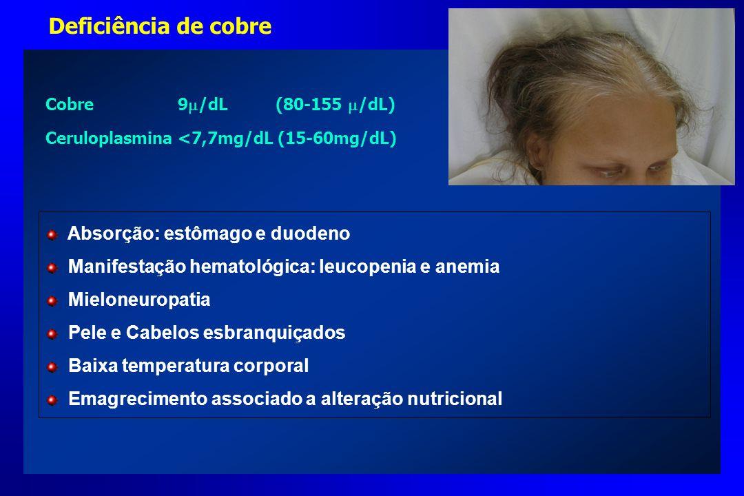 Deficiência de cobre Absorção: estômago e duodeno