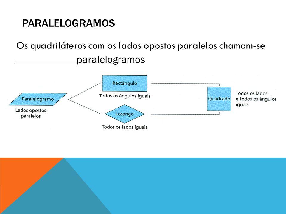Paralelogramos Os quadriláteros com os lados opostos paralelos chamam-se ________________.