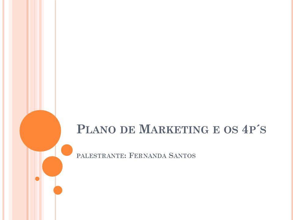 Plano de Marketing e os 4p´s palestrante: Fernanda Santos