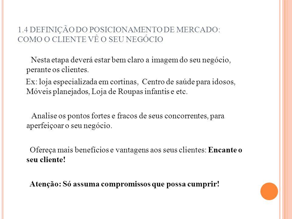 1.4 DEFINIÇÃO DO POSICIONAMENTO DE MERCADO: COMO O CLIENTE VÊ O SEU NEGÓCIO