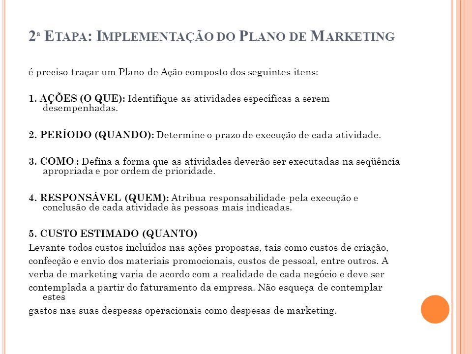 2ª Etapa: Implementação do Plano de Marketing