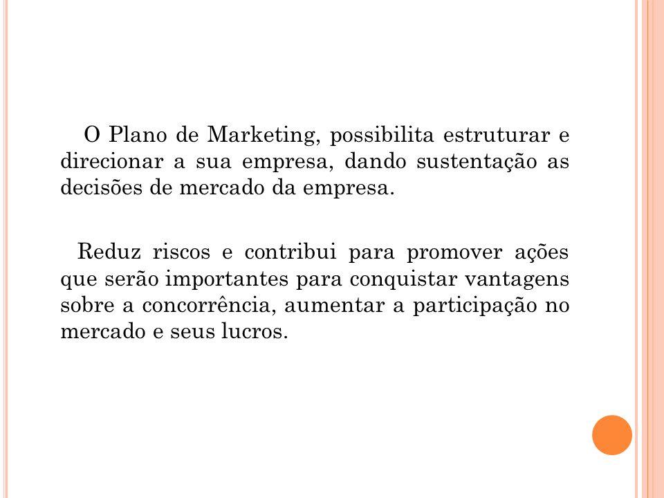 O Plano de Marketing, possibilita estruturar e direcionar a sua empresa, dando sustentação as decisões de mercado da empresa.
