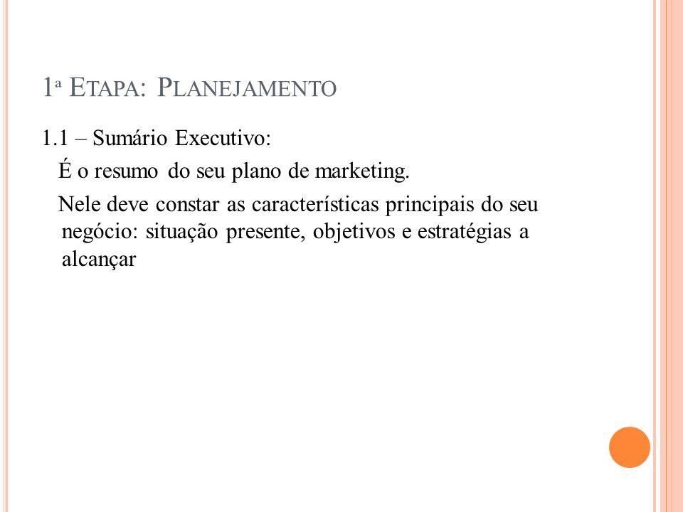1ª Etapa: Planejamento 1.1 – Sumário Executivo: