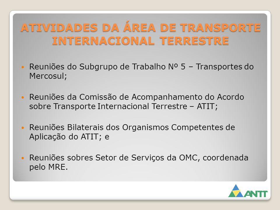 ATIVIDADES DA ÁREA DE TRANSPORTE INTERNACIONAL TERRESTRE