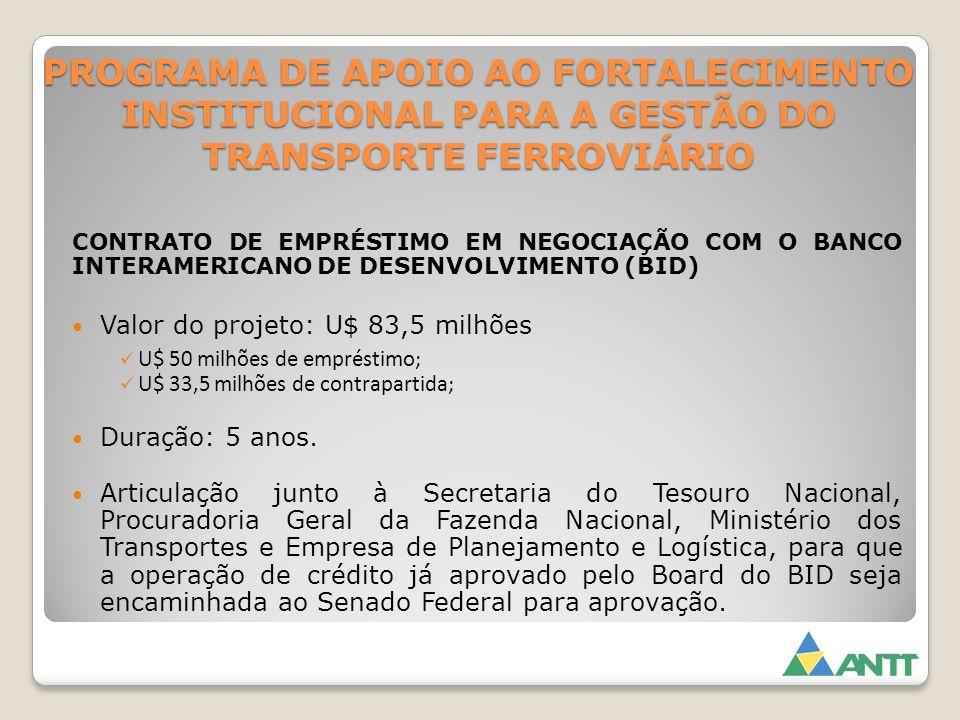 PROGRAMA DE APOIO AO FORTALECIMENTO INSTITUCIONAL PARA A GESTÃO DO TRANSPORTE FERROVIÁRIO