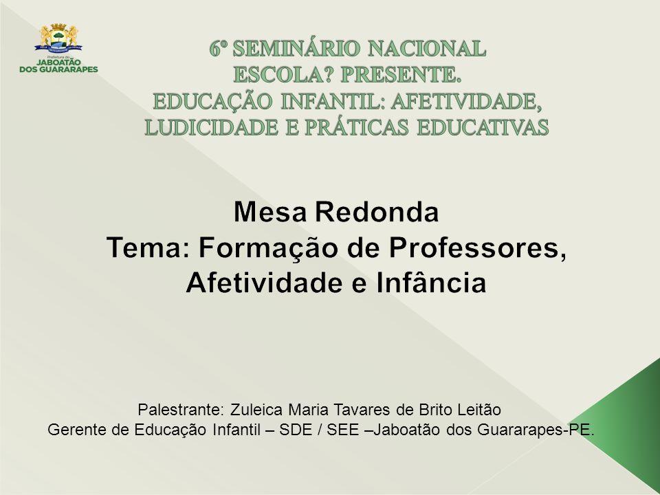 Mesa Redonda Tema: Formação de Professores, Afetividade e Infância