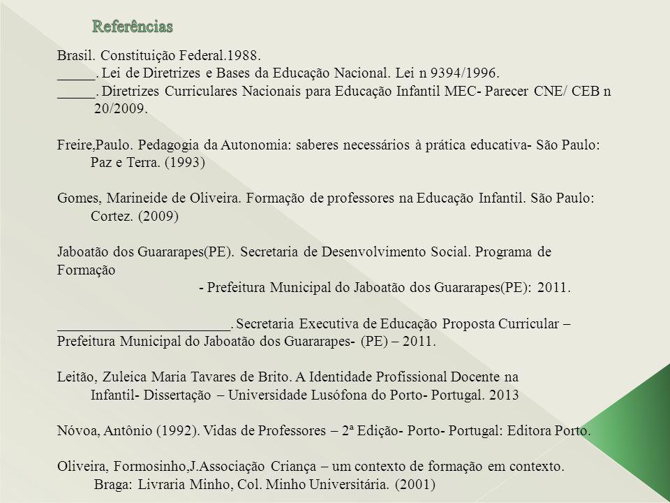 Referências Brasil. Constituição Federal.1988.