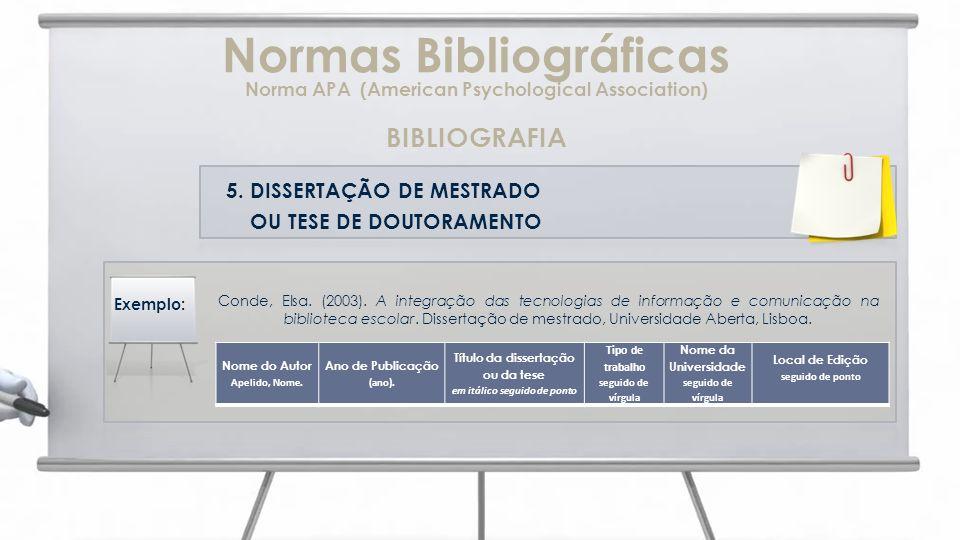 Normas Bibliográficas Norma APA (American Psychological Association)