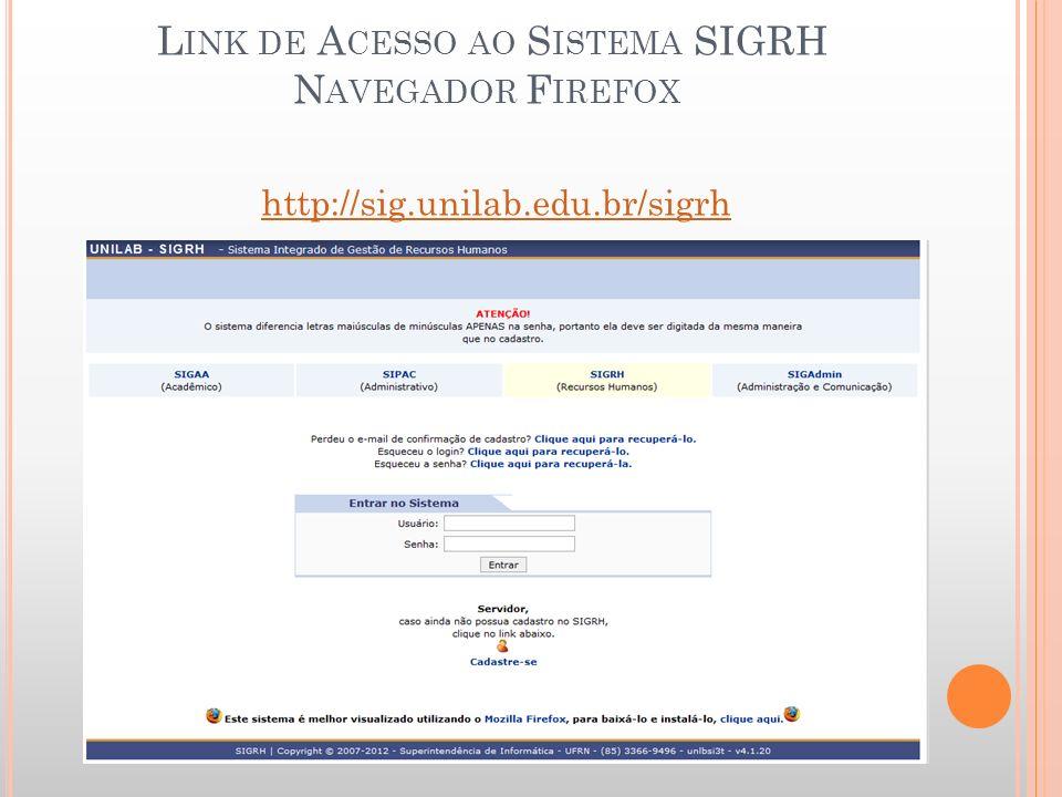 Link de Acesso ao Sistema SIGRH Navegador Firefox