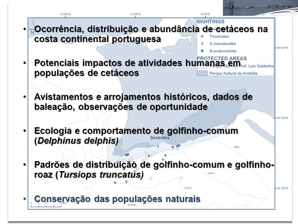 Ocorrência, distribuição e abundância de cetáceos na costa continental portuguesa