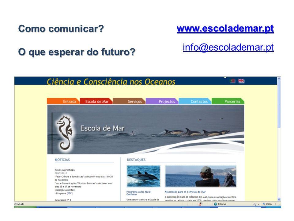 Como comunicar O que esperar do futuro www.escolademar.pt info@escolademar.pt