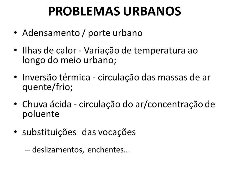 PROBLEMAS URBANOS Adensamento / porte urbano
