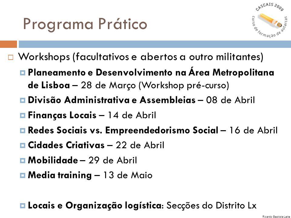 Programa Prático Workshops (facultativos e abertos a outro militantes)