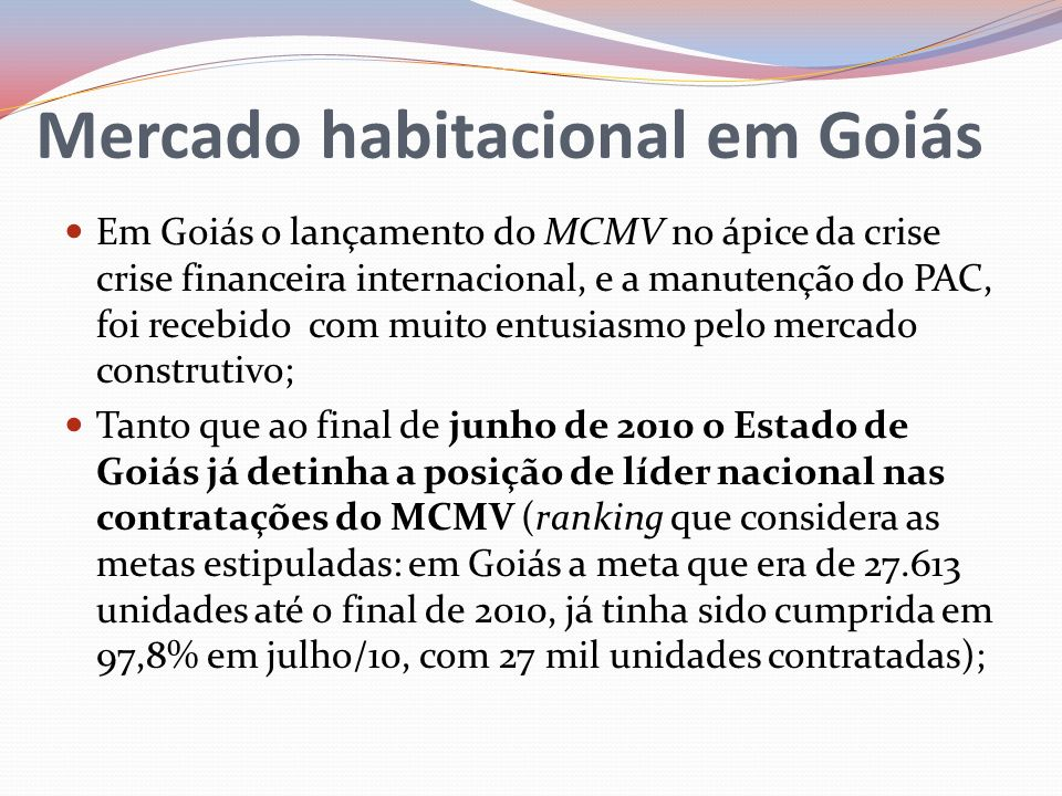 Mercado habitacional em Goiás