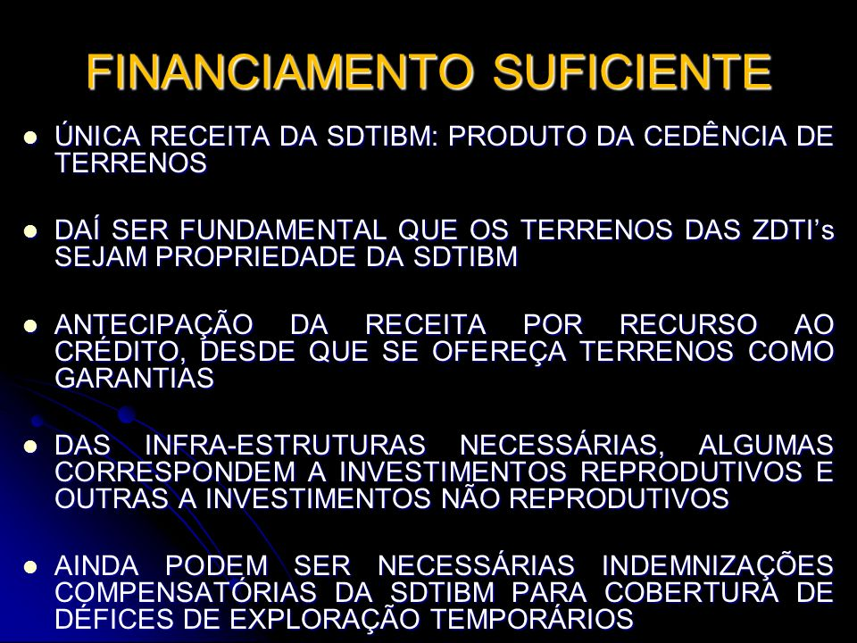 FINANCIAMENTO SUFICIENTE