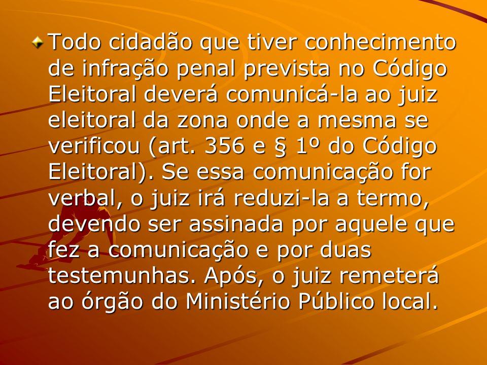 Todo cidadão que tiver conhecimento de infração penal prevista no Código Eleitoral deverá comunicá-la ao juiz eleitoral da zona onde a mesma se verificou (art.