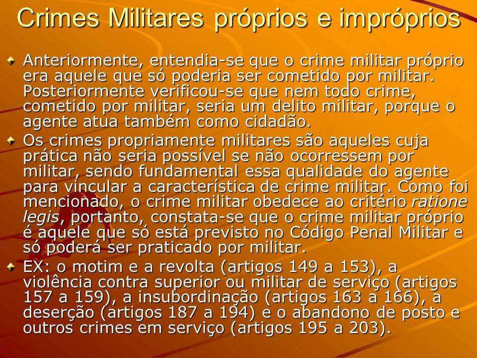 Crimes Militares próprios e impróprios