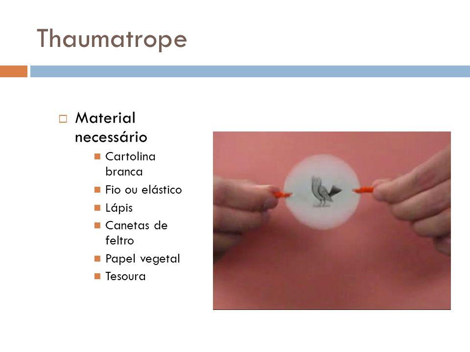 Thaumatrope Material necessário Cartolina branca Fio ou elástico Lápis