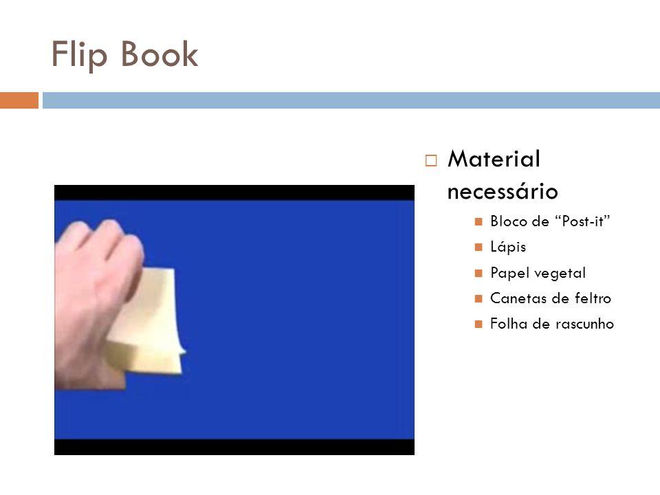 Flip Book Material necessário Bloco de Post-it Lápis Papel vegetal