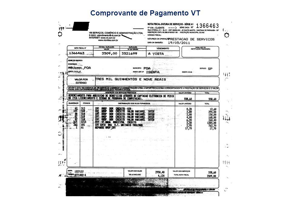 Comprovante de Pagamento VT