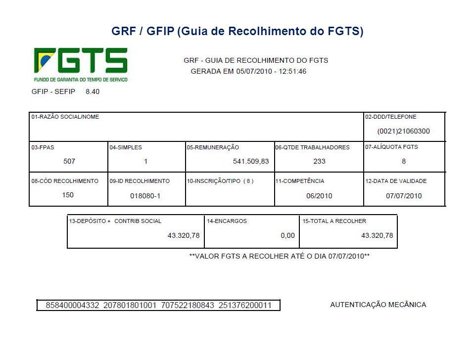 GRF / GFIP (Guia de Recolhimento do FGTS)
