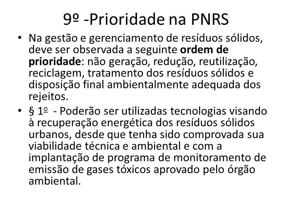 9º -Prioridade na PNRS