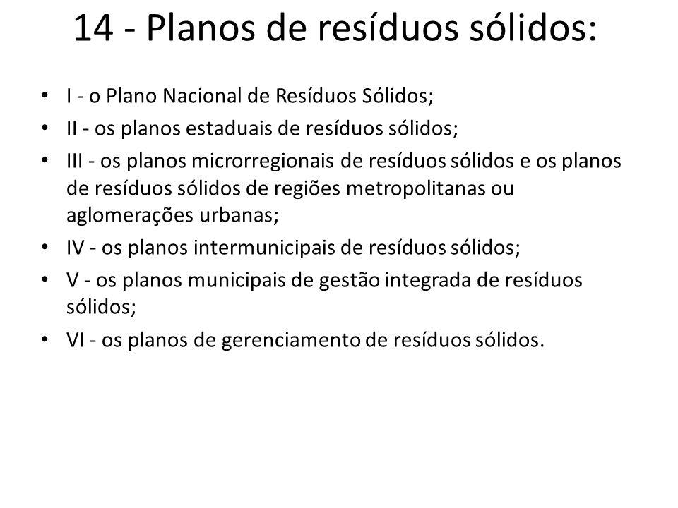 14 - Planos de resíduos sólidos: