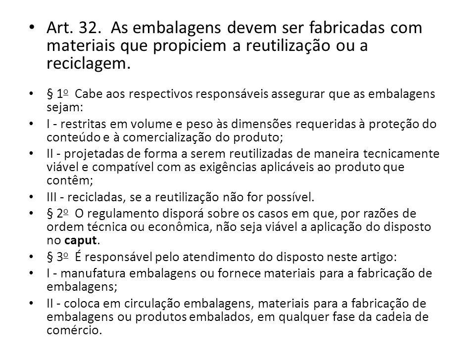 Art. 32. As embalagens devem ser fabricadas com materiais que propiciem a reutilização ou a reciclagem.
