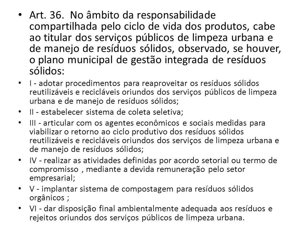 Art. 36. No âmbito da responsabilidade compartilhada pelo ciclo de vida dos produtos, cabe ao titular dos serviços públicos de limpeza urbana e de manejo de resíduos sólidos, observado, se houver, o plano municipal de gestão integrada de resíduos sólidos: