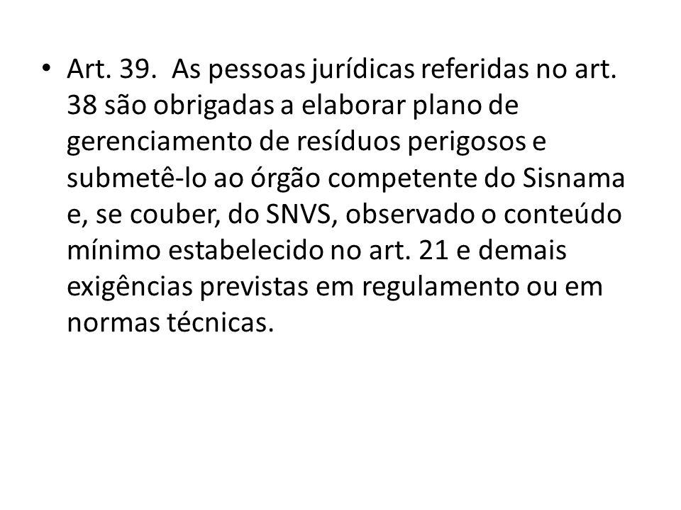 Art. 39. As pessoas jurídicas referidas no art
