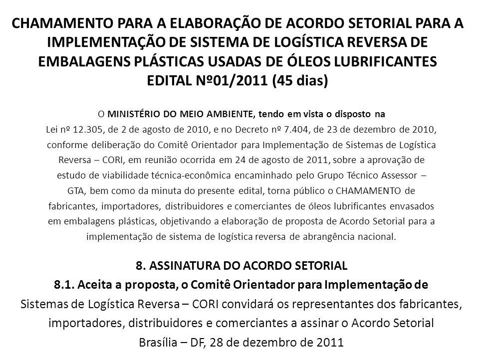 CHAMAMENTO PARA A ELABORAÇÃO DE ACORDO SETORIAL PARA A IMPLEMENTAÇÃO DE SISTEMA DE LOGÍSTICA REVERSA DE EMBALAGENS PLÁSTICAS USADAS DE ÓLEOS LUBRIFICANTES EDITAL Nº01/2011 (45 dias)